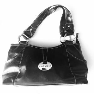 Nine West Bags - Nine West Black White Leather Bag Silver Hardware